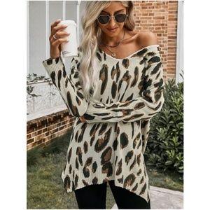 V Neck fall Leopard print Knit Tunic Sweater tan